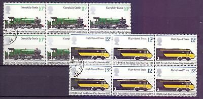 United Kingdom  1975  Trains block 6, 2 CTO 4 MNH.