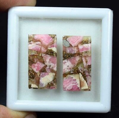 29.45 Cts.Natural Pair Copper Rhodochrosite Cabochon 26*13.5*3 mm Loose Gemstone