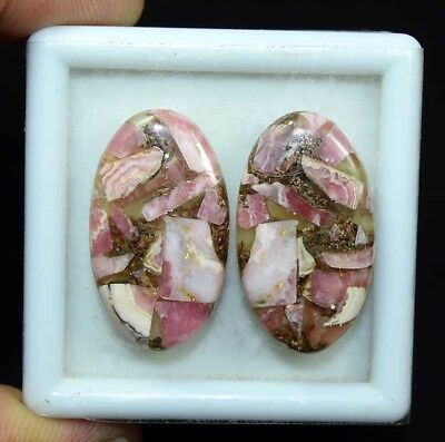 41.00 Cts.Natural Pair Copper Rhodochrosite Cabochon 30.5*17*4 mm Loose Gemstone