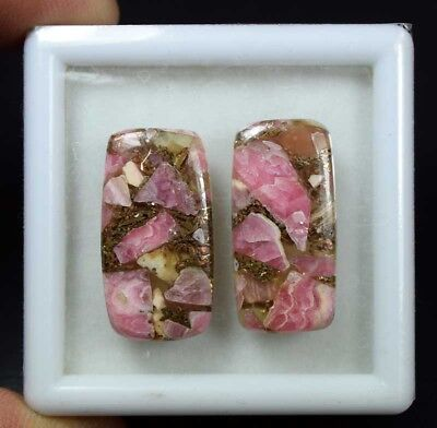 30.25 Cts.Natural Pair Copper Rhodochrosite Cabochon 27*14*3 mm Loose Gemstone