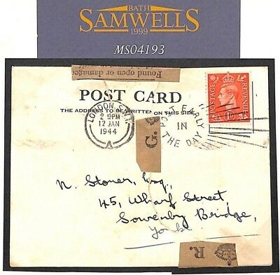 MS4193 1944 GB WW2 INTERRUPTED MAIL London DAMAGED BY ENEMY ACTION? Postcard