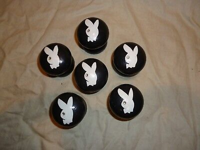 """Drawer Knobs set of six Hand Painted """"Playboy type Bunnies"""""""