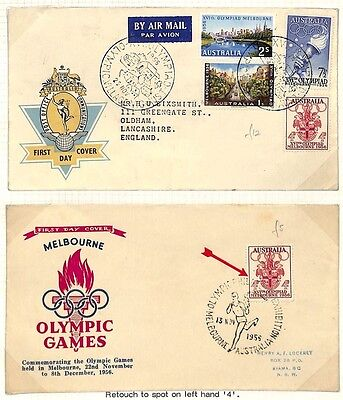 LA30 1956 Australia Melbourne Olympics GB First Day Covers Pair PTS