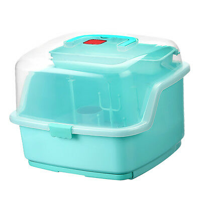 Baby Bottle Drying Rack and Dishwasher Storage Box with Waterproof Lid Green