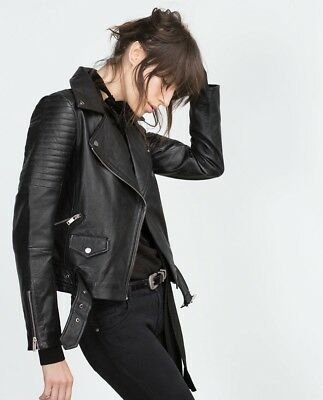 S Biker Small Size Jacket Quilted Zara With Belt Leather 1C0wCqxZ