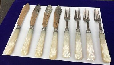Antique Victorian Hm Solid Silver Mother Pearl Fish Knives Forks Engrave Cutlery