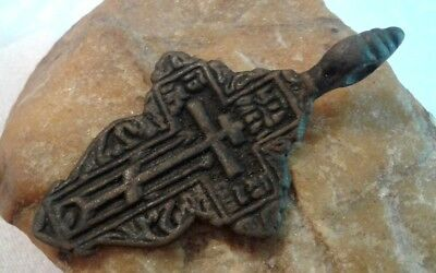 "ANTIQUE 18-19th CENTURY LARGE ORTHODOX ""OLD BELIEVERS"" ORNATE CROSS PSALM 68"