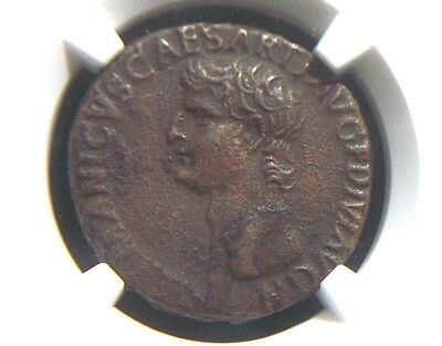 AE As of Roman General Germanicus , Large SC reverse 19 AD  NGC XF  1014