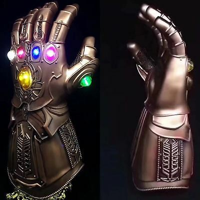 LED Light Thanos Infinity Gauntlet Gloves Avengers Cosplay PVC Halloween Props