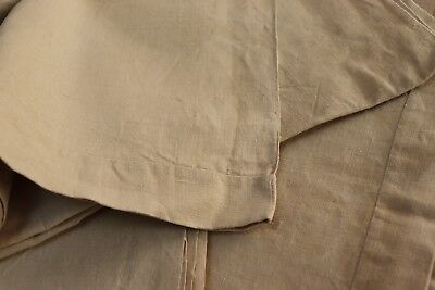 2 MATCHING large French antique linen UNUSED washed SHEETS straw color c.1900