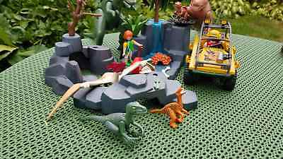 Playmobil Dinos World - Sammlung 6 Dinos Auto Jeep Felsen & 2 Figuren