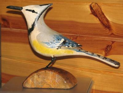 BLUE JAY bird hand carved & painted JIM SLACK Pekin IL   decoy carver