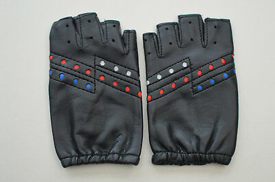 Kid's Millington Fingerless Faux Leather Cycling Gloves Black Size 7