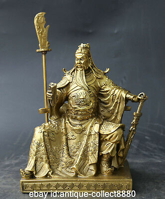 """9.6""""Chinese Bronze Gild Ancient Guan Gong Yu Warrior God Hold Knife Sword Statue"""
