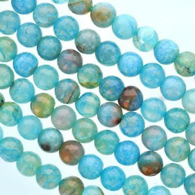 8mm Turquoise Ocean Blue AGATE Beads, Round FACETED full strand Gemstone gag0047