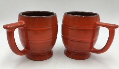 Frankoma Flame Red Orange with Brown Interior Lot of 2 Beehive Mugs C7
