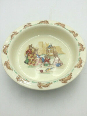 "BUNNYKINS Royal Doulton Heavy CEREAL Dish Bowl ""TV Time"" 6"" Fine Bone China"
