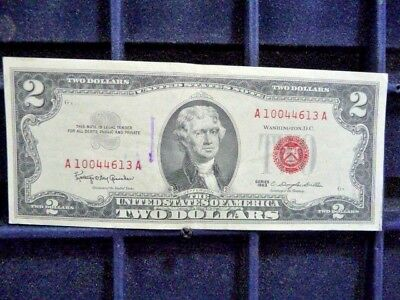 1963 Two Dollar Red Seal Note In E/fine Condition With Sleeve A10044613A I-2-18