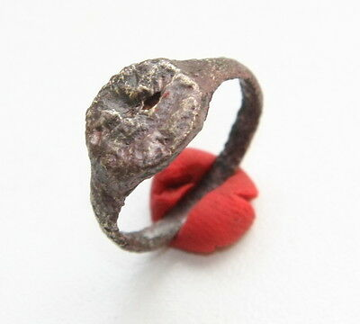 Ancient Old Medieval Bronze Ring With Image (FBB03)
