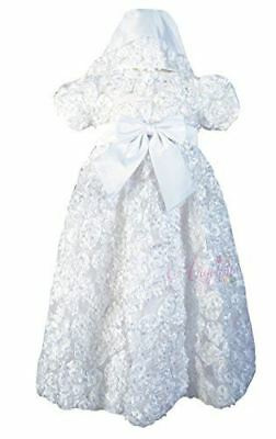 Baby Girls Christening Dress Baptism Tulle White Gown with Bonnet