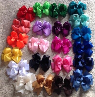 """LOT OF 20 Girl's 5"""" Inch HAIRBOWS HANDMADE CUSTOMERS COLORS ORDER"""