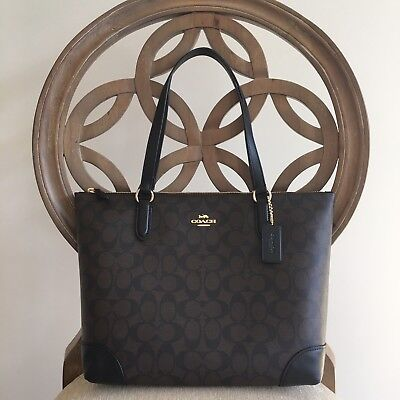 Coach F29208 Zip Top Tote In Signature Shoulder Bag Purse Brown Black