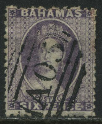 Bahamas QV 1863 6d dark violet used with a numeral A05