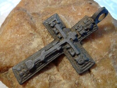 "Antique 18-19 Century Orthodox ""Old Believers"" Larger Cross Pendant Psalm 68"