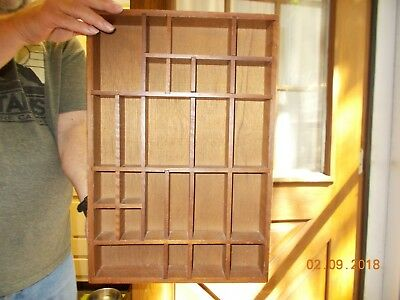 Wood Shadow Box Display Printer Tray Drawer 17 X 11 various size boxes inside