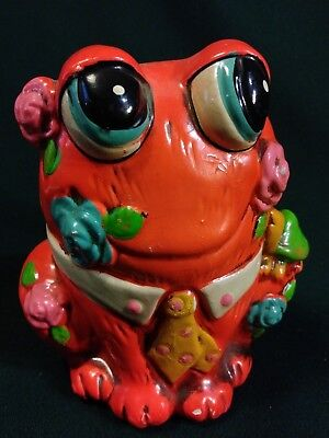 CHALKWARE BANK Vintage 60's Frog SNAIL Coin HOLIDAY FAIR Psychedelic Mod Kitsch