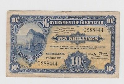 Gibraltar Paper money  one old note  fine stain