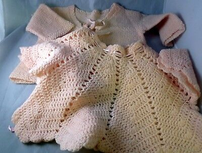 Vintage Hand Made Baby Peach Colored Sweater Lot 1950s