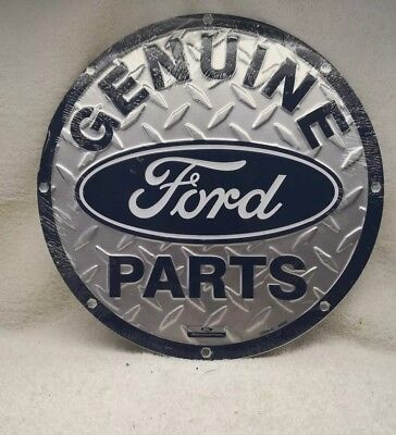Genuine Ford Parts Round Metal Garage Sign Diamond Plate Man Cave 12""