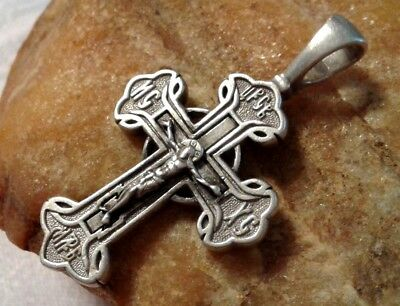 "VINTAGE STERLING SILVER ""925"" ORTHODOX ""SUN CROSS"" CRUCIFIX ""SAVE and PROTECT"""