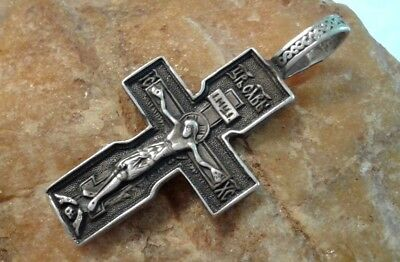 "Vintage Sterling Silver ""925"" Orthodox ""Skull"" Crucifix Psalm 68 ""Exorcism"""