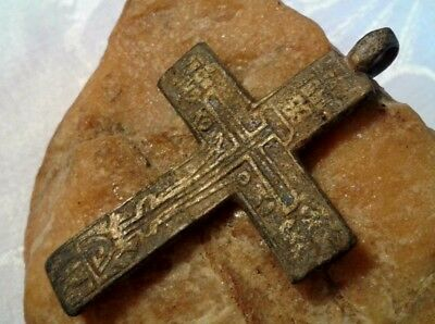 "RARE LARGE 17-18th CENT. RUSSIAN NORTH ORTHODOX ""OLD BELIEVERS"" CROSS PSALM 68"