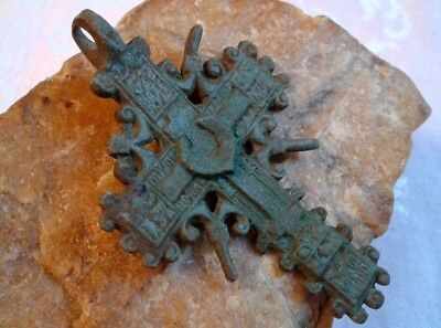 "RARE 17-18th CENTURY X-LARGE ORNATE ""OLD BELIEVERS"" ORTHODOX ""SUN"" CROSS PENDANT"