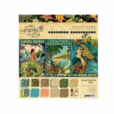 Graphic 45 Tropical Travelogue 8x8 Paper Pad RETIRED