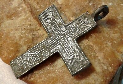 """RARE 15-17th CENTURY HAND-CARVED SOLID SILVER ORTHODOX """"OLD BELIEVERS"""" CROSS"""
