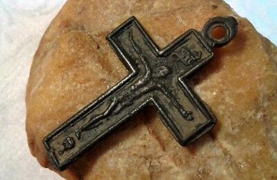 "RARE 17-18th CENTURY CATHOLIC ""SKULL"" CRUCIFIX w/ VIRGIN MARY ""STAR OF THE SEA"""