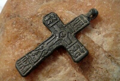 "UNIQUE 15-18th CENT. HAND-CARVED ORTHODOX ""OLD BELIEVERS"" ORNATE CROSS RARE TEXT"