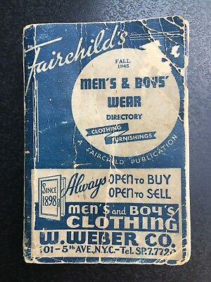 Vintage book Fairchild's Men's and Boy's Wear Directory 1945 ads salesman NYC
