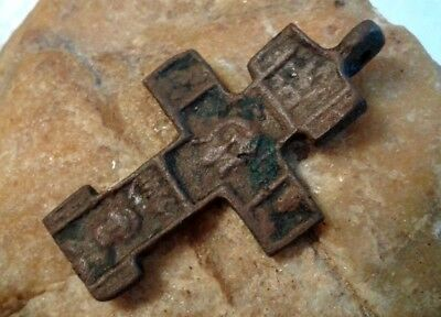 RARE 15-16th CENTURY ORTHODOX CROSS HOLY FACE OF JESUS and SAINTS JOHN, NICHOLAS