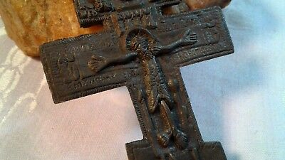 ANTIQUE 18-19th CENTURY RUSSIAN ORTHODOX X-LARGE ICONIC CRUCIFIX HOLY TRINITY