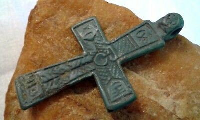 "RARE 15-17th CENTURY RUSSIAN NORTH HAND-CARVED ORTHODOX CROSS ""CROWN OF THORNS"""