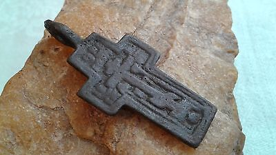 "Antique Russian Orthodox ""Old Believers"" Large ""Skull"" Copper-Iron Cross Pendant"