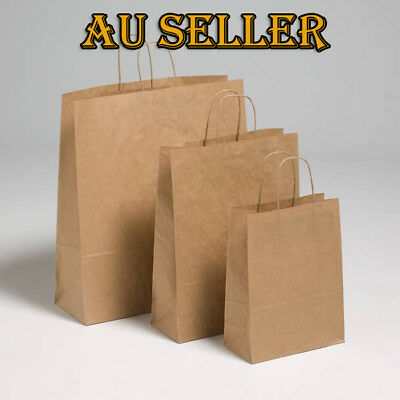 Bulk 1-100pcs KRAFT Brown Paper Carry Bags Handle Die Cut Handle Shopping Bags