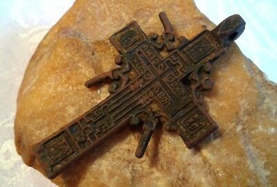 "RARE 17-18th CENTURY ""OLD BELIEVERS"" ORTHODOX X-LARGE ORNATE ""SUN"" CROSS PENDANT"