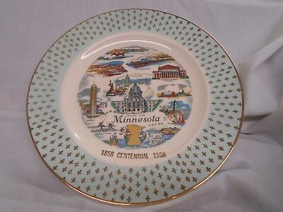vtg Minnesota decorative 1858-1958 Centennial plate scenic views 10""