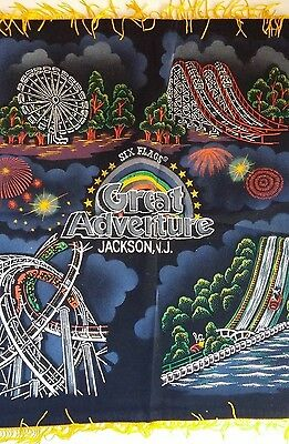 Six Flags Great Adventure Jackson NJ Black light Felt Wall Hanging Picture VTG